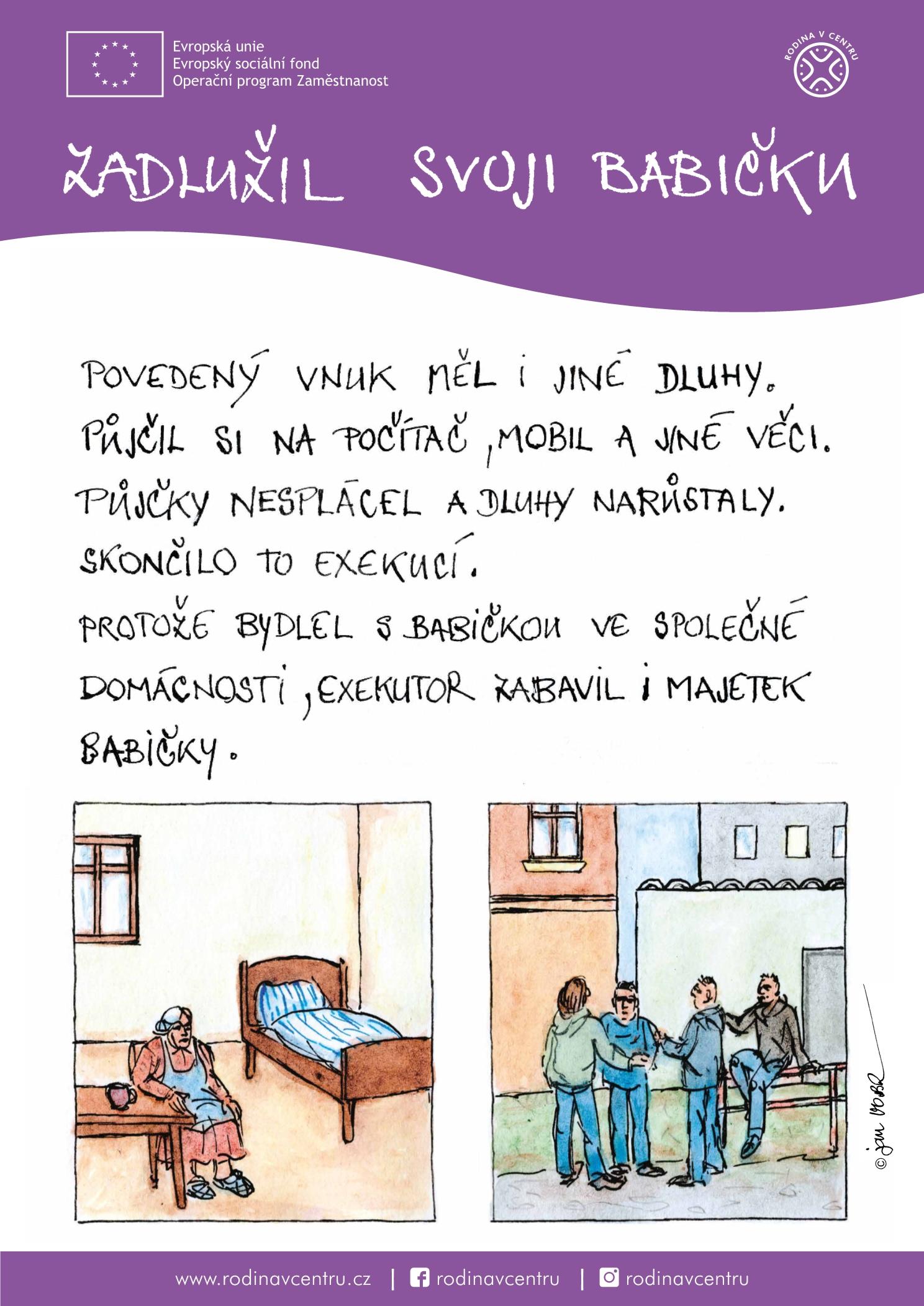 Rodina v centru-plakát komiks-1