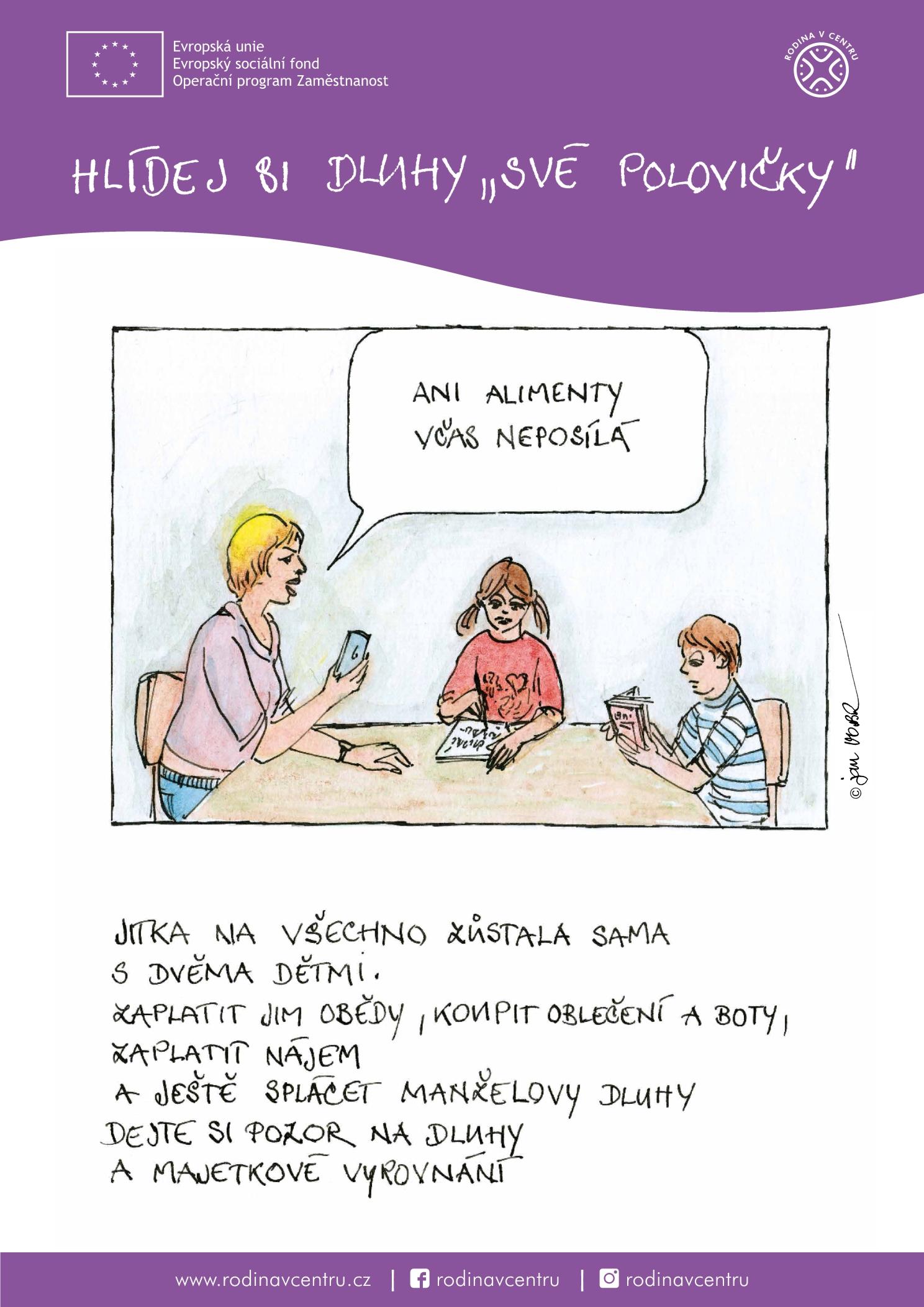 Rodina v centru-plakát komiks-6